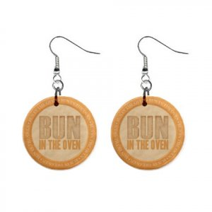 Bun in the Oven Baby Shower Gift Dangle Button Earrings Jewelry 1 inch Round 20119829