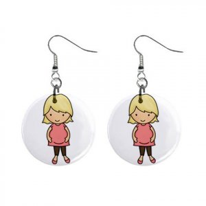 Blonde Pregnant Mom Baby Shower Gift Dangle Button Earrings Jewelry 1 inch Round 20119833
