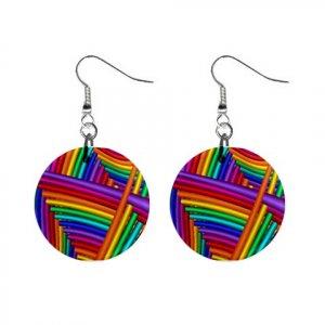 New Interlocking Colorful Design Dangle Button Earrings Jewelry 13100603