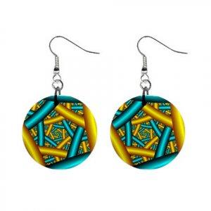 New Bar Web Design 3D Look Design Dangle Button Earrings Jewelry 13100590