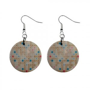 """New Scrabble Game Design Dangle Button Earrings Jewelry 1"""" Round 14421332"""