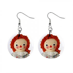 "New Face of Raggedy Ann Doll Design Dangle Button Earrings Jewelry 1"" Round 14537889"