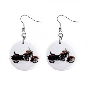 """New Indian Chief Roadmaster Motorcycle Design Dangle Button Earrings Jewelry 1"""" Round 14431936"""
