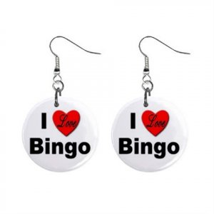 "New I LOVE BINGO Design #6 1"" Round Button Dangle Earrings Jewelry 16546214"