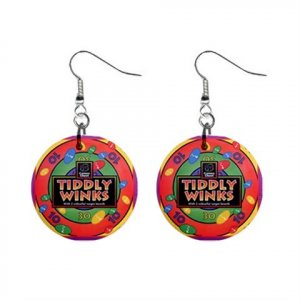 """New Tiddly Winks Design Dangle Button Earrings Jewelry 1"""" Round 16546225"""