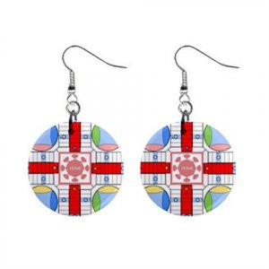 """New Parcheesi Design Dangle Button Earrings Jewelry 1"""" Round 16546224"""