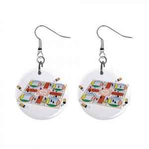 """New Parcheesi #3 Design Dangle Button Earrings Jewelry 1"""" Round 16546234"""
