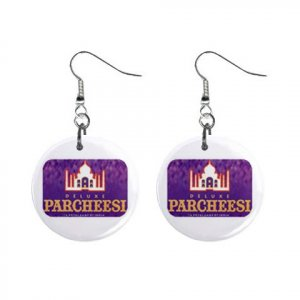 """New Parcheesi #2 Design Dangle Button Earrings Jewelry 1"""" Round 16546470"""