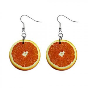 "New Inside Orange Citrus  Design Dangle Button Earrings Jewelry 1"" Round 17007278"