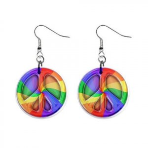 """New Peace Sign 70's Design Dangle Button Earrings Jewelry 1"""" Round 17112928"""