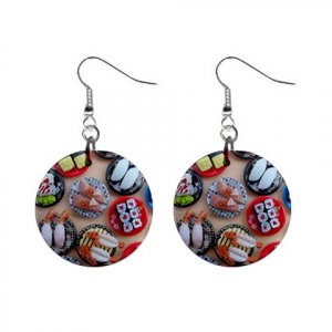"""New Sushi  Lover Design Dangle Button Earrings Jewelry 1"""" Round 16450065"""