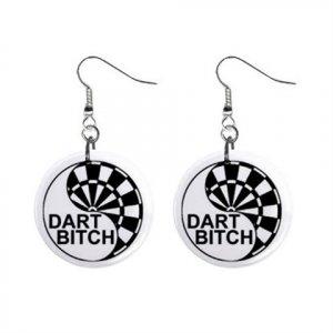 "New Dart Player Bitch Design Dangle Button Earrings Jewelry 1"" Round 16503180"