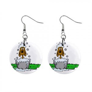 New Dog Groomer Dog in Tub Dangle Earrings Jewelry 14430698