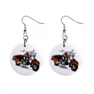 """New Indian Chief T-3 Motorcycle Design Dangle Button Earrings Jewelry 1"""" Round 14469667"""