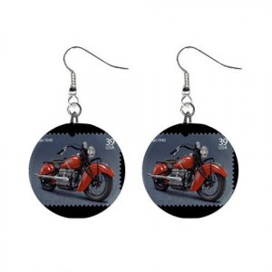 """New 1940  Indian Chief Motorcycle Design Dangle Button Earrings Jewelry 1"""" Round 13894601"""