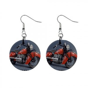 "New 1940  Indian Chief Motorcycle Design #2 Dangle Button Earrings Jewelry 1"" Round 14431918"
