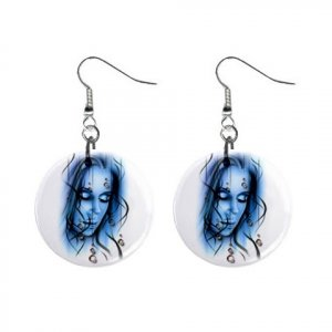 "Blue Goth  Design Dangle Button Earrings Jewelry 1"" Round 12894147"