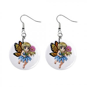 "Little Fairy Design Dangle Button Earrings Jewelry 1"" Round 13004379"