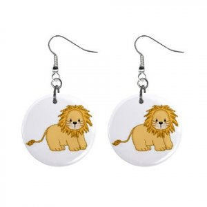 "Baby Lion Design Dangle Button Earrings Jewelry 1"" Round 13004389"