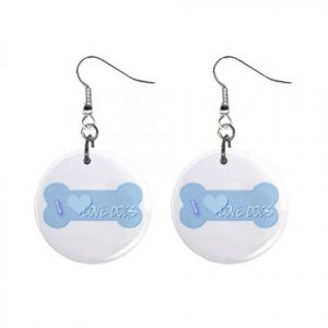 """I Love Dogs  Design Dangle Button Earrings Jewelry 1"""" Round 13004390"""