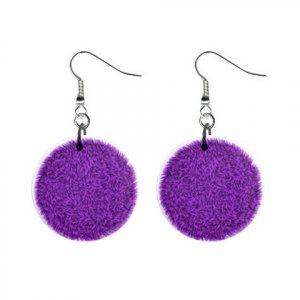 Purple FUR PRINTED DESIGN Dangle Earrings Jewelry 1 inch Buttons 13099466