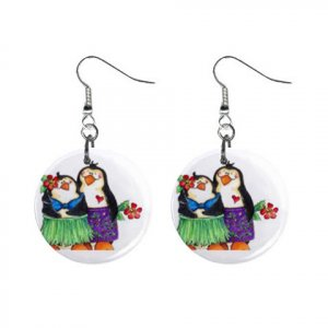 Hawiian Penguins Dangle Earrings Jewelry 1 inch Buttons 13152938
