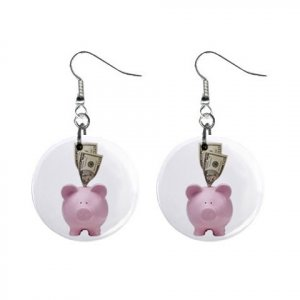 PINK PIGGY BANK Dangle Earrings Jewelry 1 inch Buttons 13894588