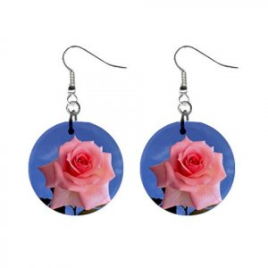 PINK ROSE Dangle Earrings Jewelry 1 inch Buttons 13894589