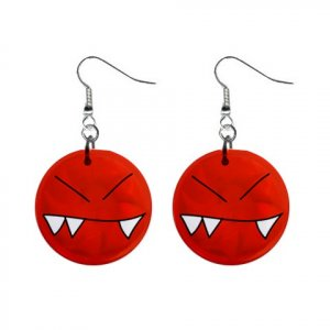 ANGRY FACE CARTOON Dangle Earrings Jewelry 1 inch Buttons 21493360