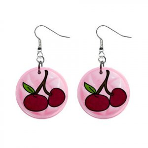 CHERRIES Dangle Earrings Jewelry 1 inch Buttons 21493397