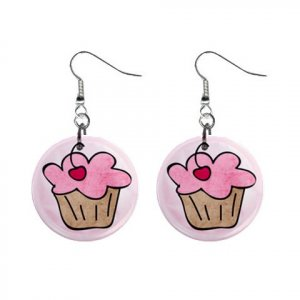CARTOON CUPCAKE Dangle Earrings Jewelry 1 inch Buttons 21494635