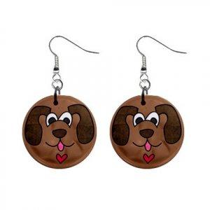 CARTOON DOG FACE Dangle Earrings Jewelry 1 inch Buttons 21494895