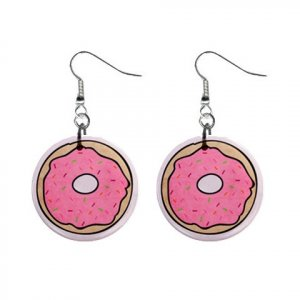 CARTOON DONUT Dangle Earrings Jewelry 1 inch Buttons 21494897