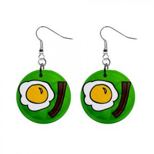 EGGS AND BACON Dangle Earrings Jewelry 1 inch Buttons 21494898