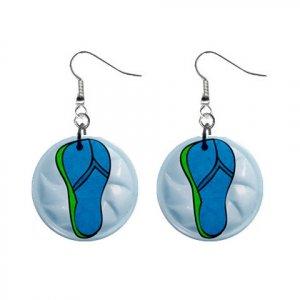 FLIP FLOPS Design Dangle Earrings Jewelry 1 inch Buttons 21495156