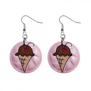 ICE CREAM CONE Design Dangle Earrings Jewelry 1 inch Buttons 21495417