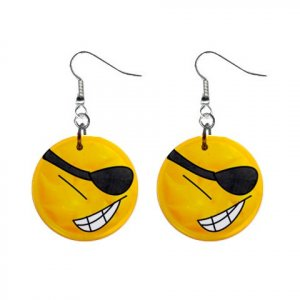 CARTOON SMILEY PIRATE Design Dangle Earrings Jewelry 1 inch Buttons 21495429