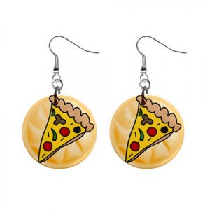 PIZZA SLICE Design Dangle Earrings Jewelry 1 inch Buttons 21495431