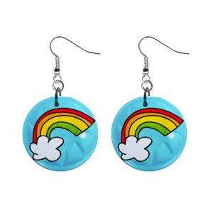 RAINBOW Design Dangle Earrings Jewelry 1 inch Buttons 21495432