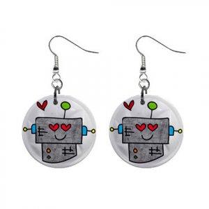 ROBOT CARTOON Design Dangle Earrings Jewelry 1 inch Buttons 21495433