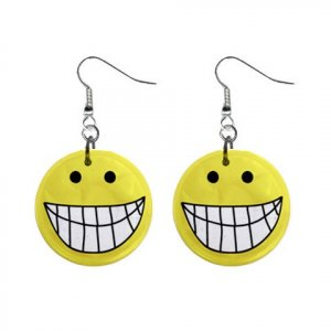 SMILEY FACE Design Dangle Earrings Jewelry 1 inch Buttons 21495436
