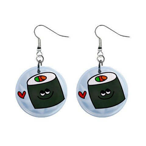 CARTOON SUSHI Design Dangle Earrings Jewelry 1 inch Buttons 21495437