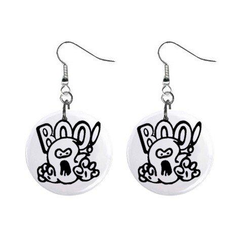 Boo Ghost Halloween Dangle Earrings Jewelry 1 inch Buttons 16438100