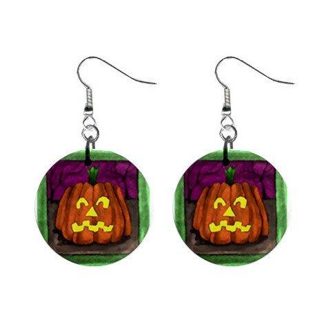 Jack-o-lantern Pumpkin Halloween Dangle Earrings Jewelry 1 inch Buttons 16544263