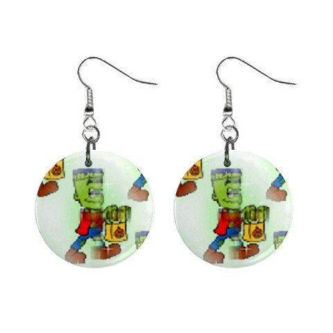 Green Monster Fall Halloween Dangle Earrings Jewelry 1 inch Buttons 16545771
