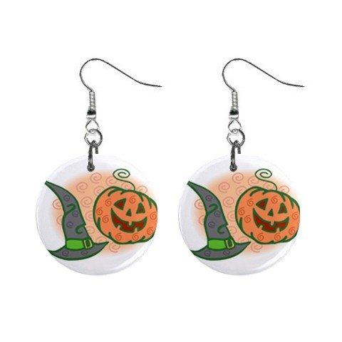 Green Witch Hat Pumpkin Halloween Dangle Earrings Jewelry 1 inch Buttons 16545847