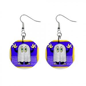 Scary Ghost Halloween Dangle Earrings Jewelry 1 inch Buttons 16545851
