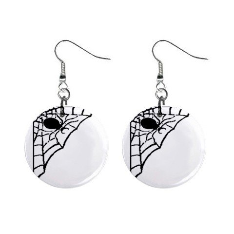 Black Spider Corner Web Halloween Dangle Earrings Jewelry 1 inch Buttons 16545998