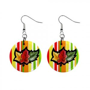Autumn Fall Leaves Dangle Earrings Jewelry 1 inch Buttons 12952040