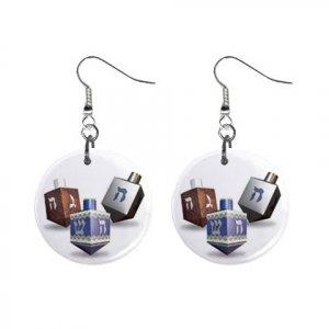 Dreidels Hannuka #2 Dangle Earrings Jewelry 1 inch Buttons 16454036